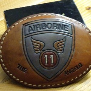 The Angels Airborne Leather Belt Buckle